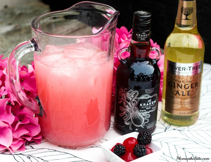 Cherry Rum Punch with Kraken Black Spiced Rum and Pink Lemonade