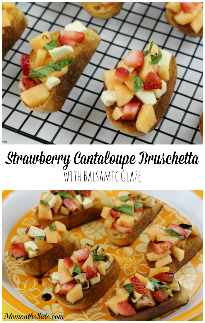 Strawberry Cantaloupe Bruschetta with Balsamic Glaze is the perfect summer appetizer or party food!