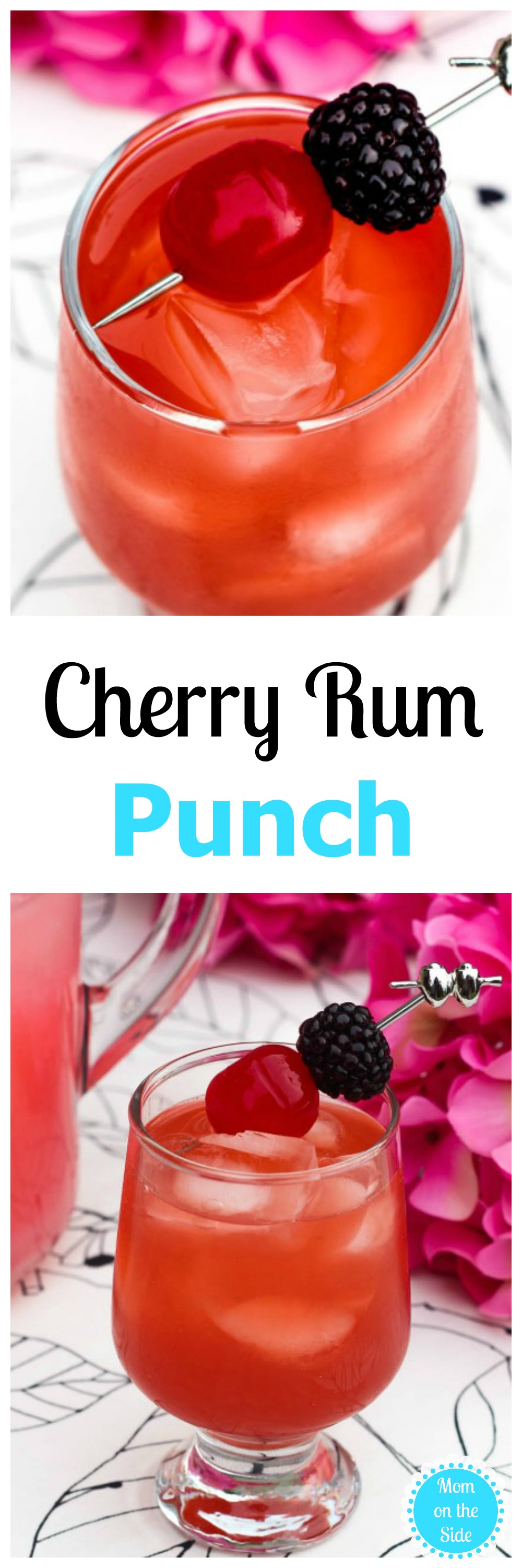 It's a berry cherry Thirsty Thursday on Mom on the Side! If you're hosting a party, or squeezing in me time, give this Cherry Rum Punch a try.