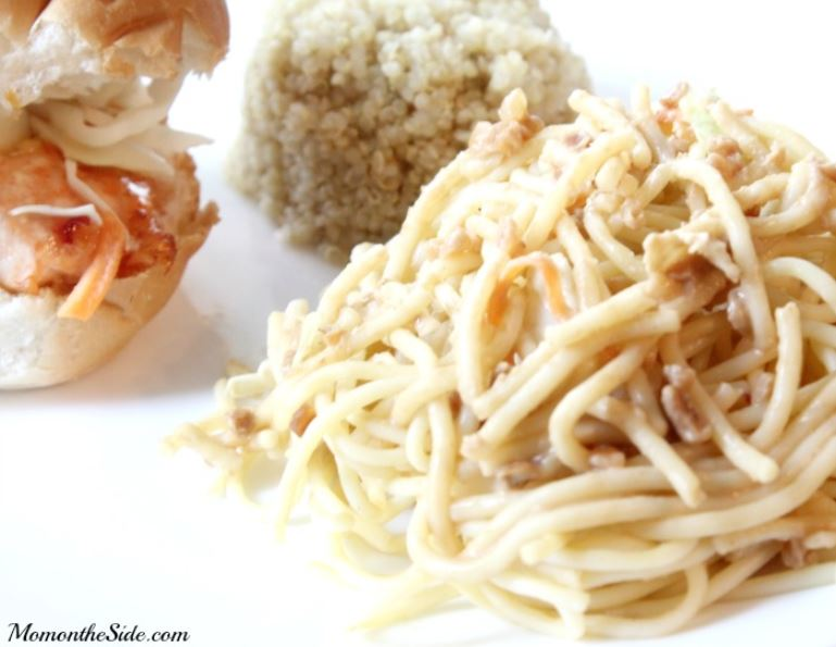 Salmon Sliders with Thai Peanut Pasta
