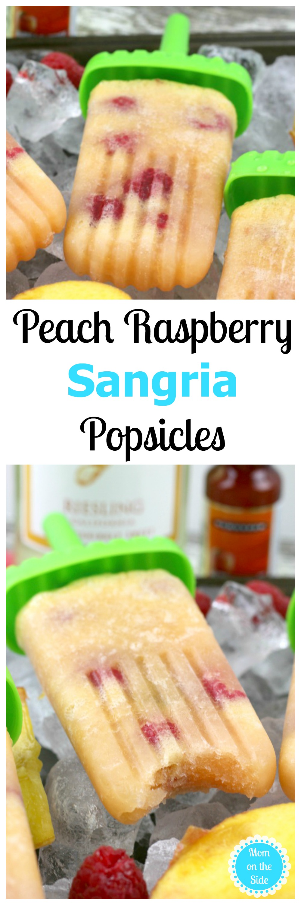 These Peach Raspberry Sangria Popsicles are going to knock your socks off on the way to flavor town. Get the alcohol popsicles recipe on Mom on the Side!
