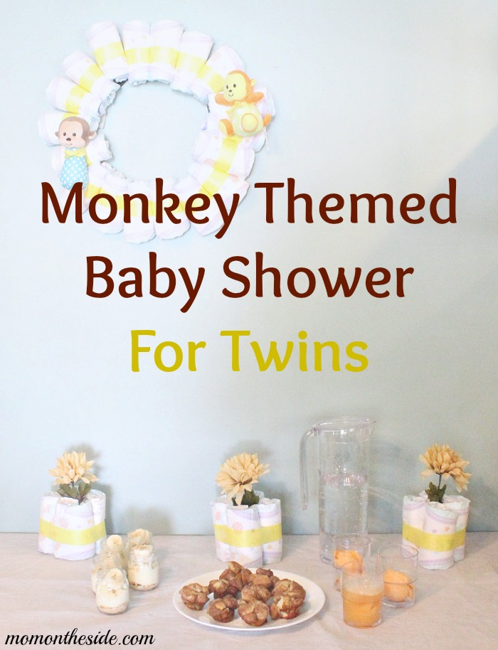 Monkey themed baby shower for twins with decorations and food for Baby shower decoration ideas for twins