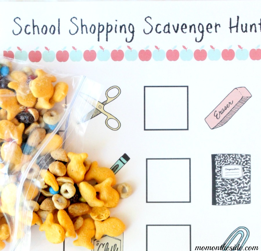 Printable School Shopping Scavenger Hunt and Snack Mix