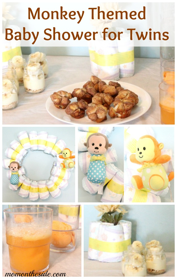 Monkey themed baby shower for twins with decorations and food for Baby shower decoration twins