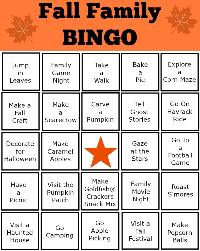 Printable Fall Family Bingo