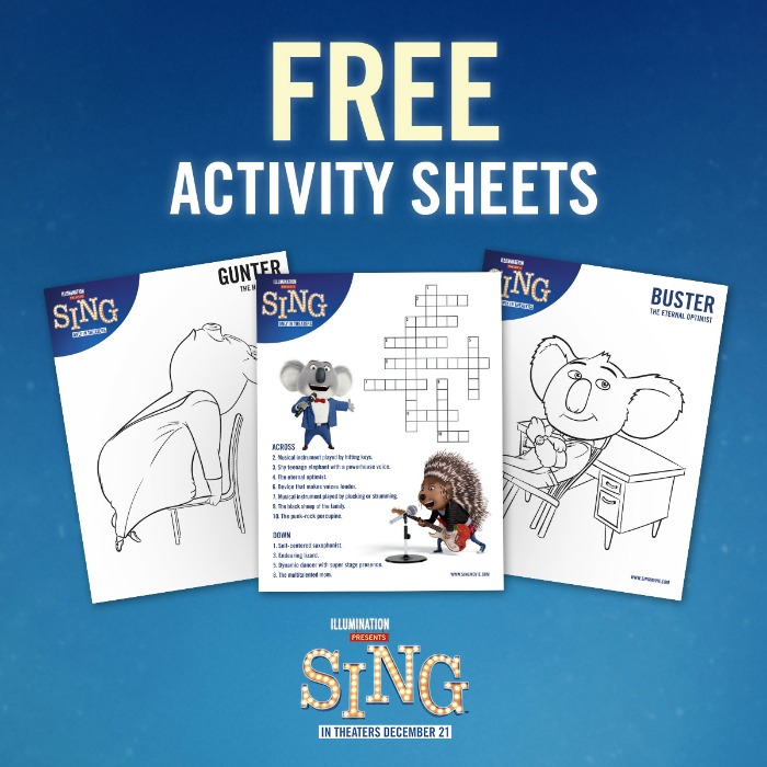 SING Movie Printables + Giveaway