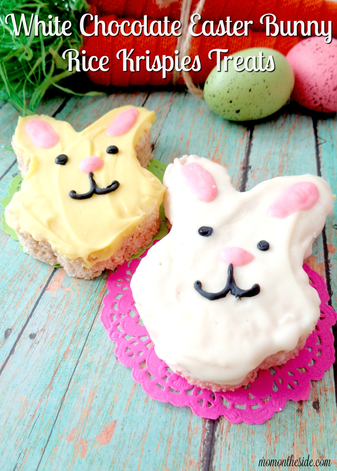 If you are looking for a fun Easter dessert, these White Chocolate Easter Bunny Rice Krispies Treats will put smiles on the faces of all your Easter party guests!