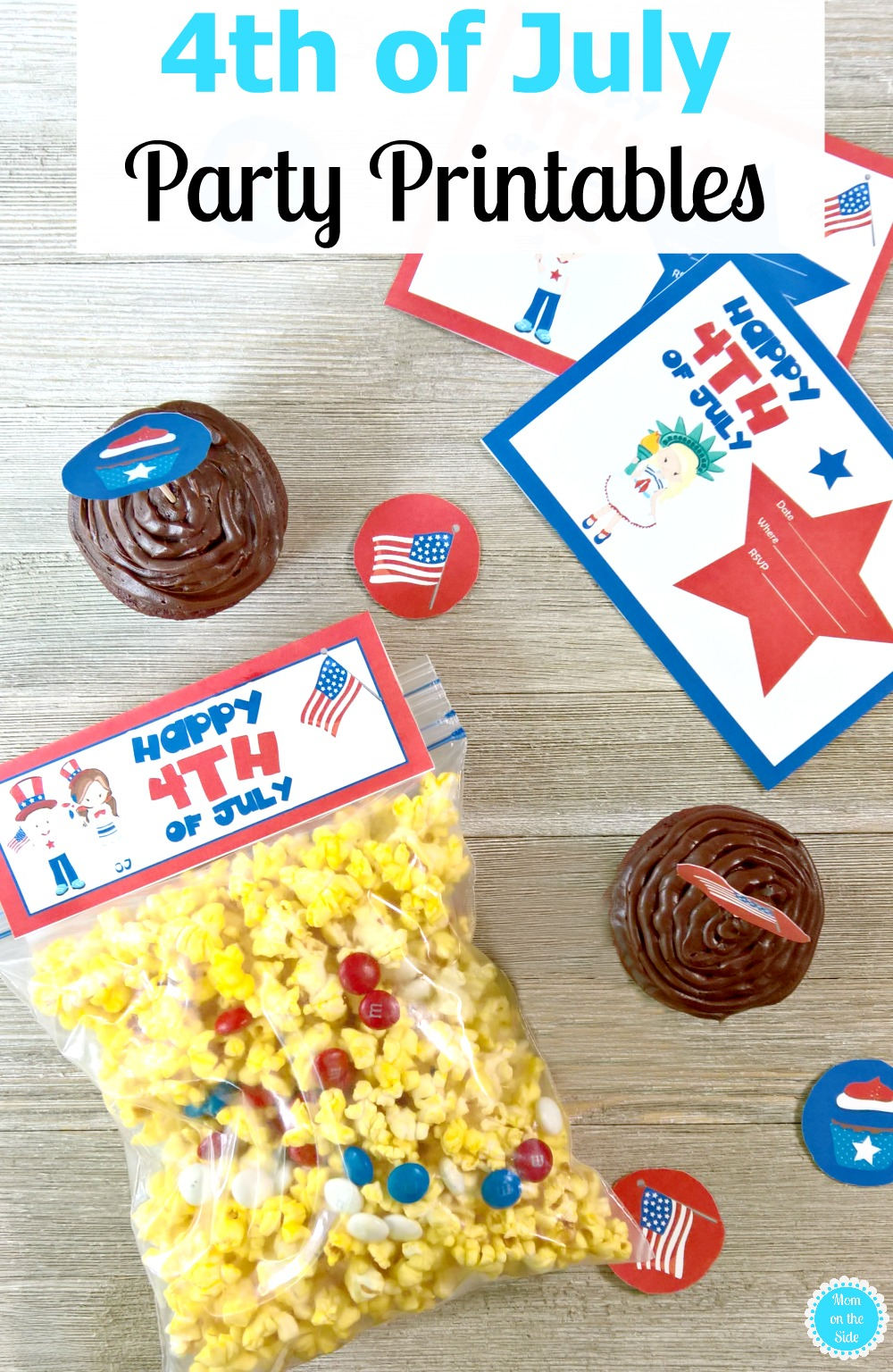 4th of July Printables - Invitations, Cupcake Toppers, and Snack Bag Toppers