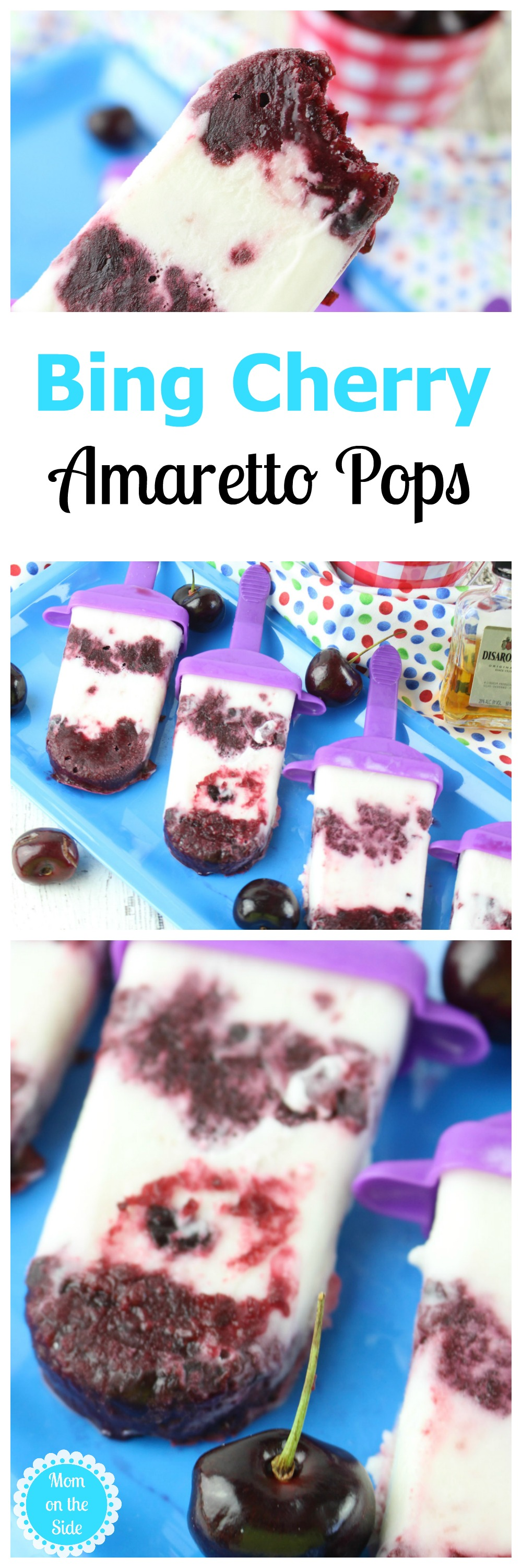 If you are looking for a delicious adult dessert with alcohol, these Bing Cherry Amaretto Pops are a must try recipe!