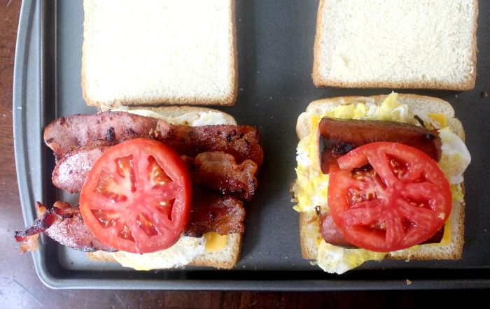 Bacon and Sausage Breakfast Grilled Cheese