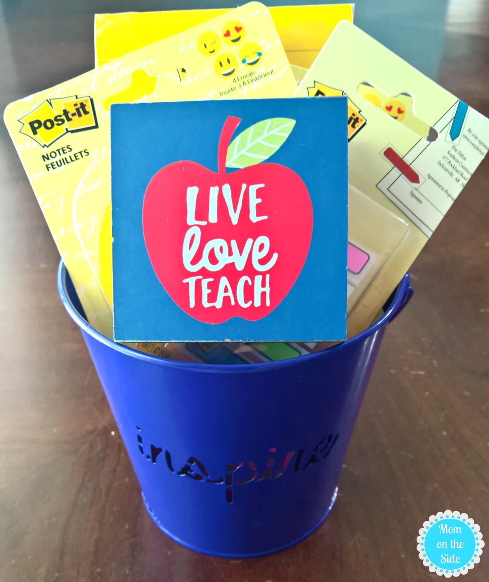 What to put in a preschool teacher gift basket for the first day of school.