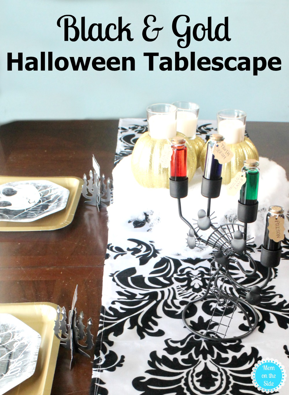 Ideas for a Black and Gold Halloween Tablescape for October