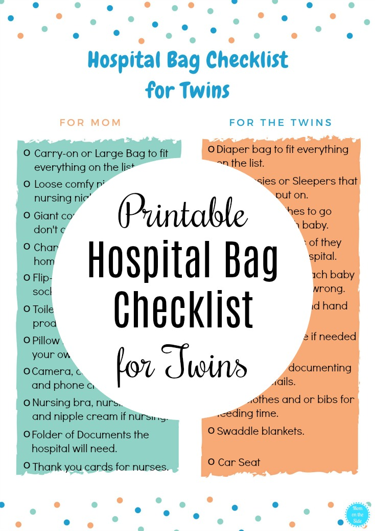 Free Printable Hospital Packing List for Twins so you know what to pack in your delivery bag for twins and for you!