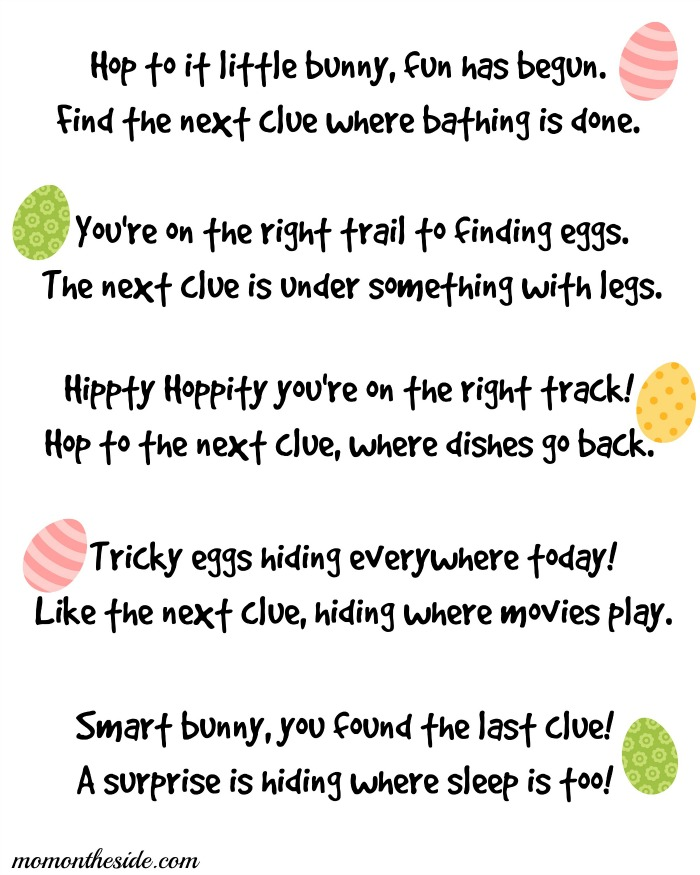 graphic regarding Printable Easter Egg Hunt Clues called Printable Easter Scavenger Hunt Clues for Youngsters and Adolescents