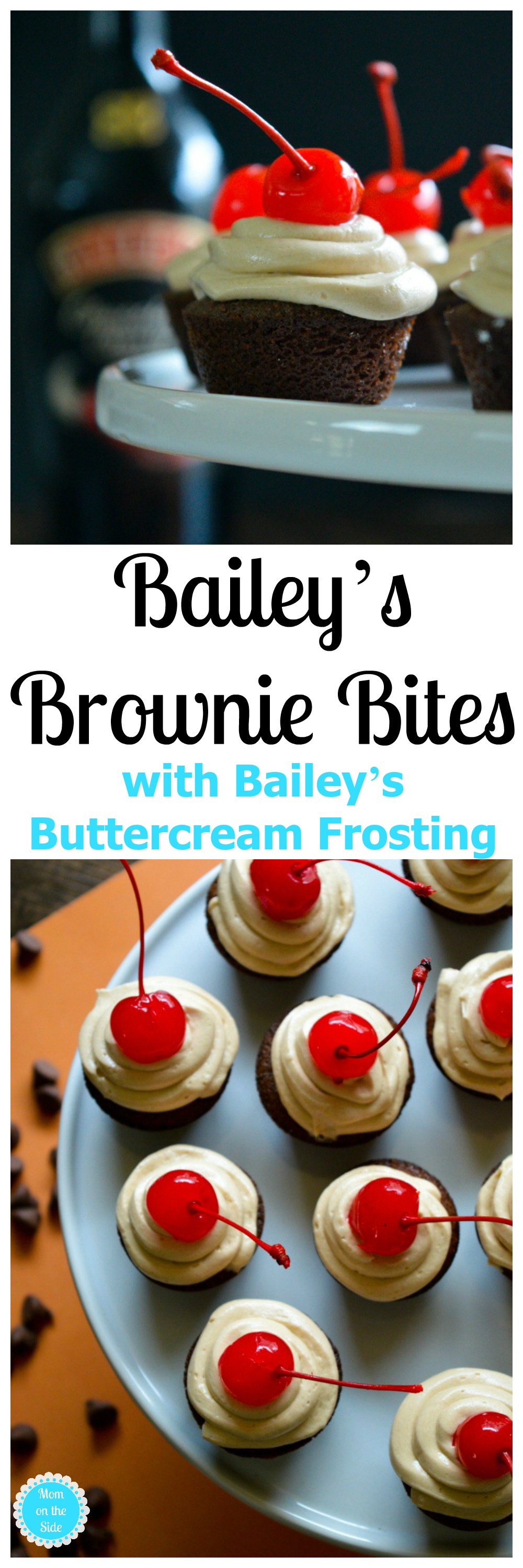 Looking for a decadent adult dessert? You've come to the right place! Bailey's Brownie Bites with Bailey's Buttercream Frosting on Mom on the Side.