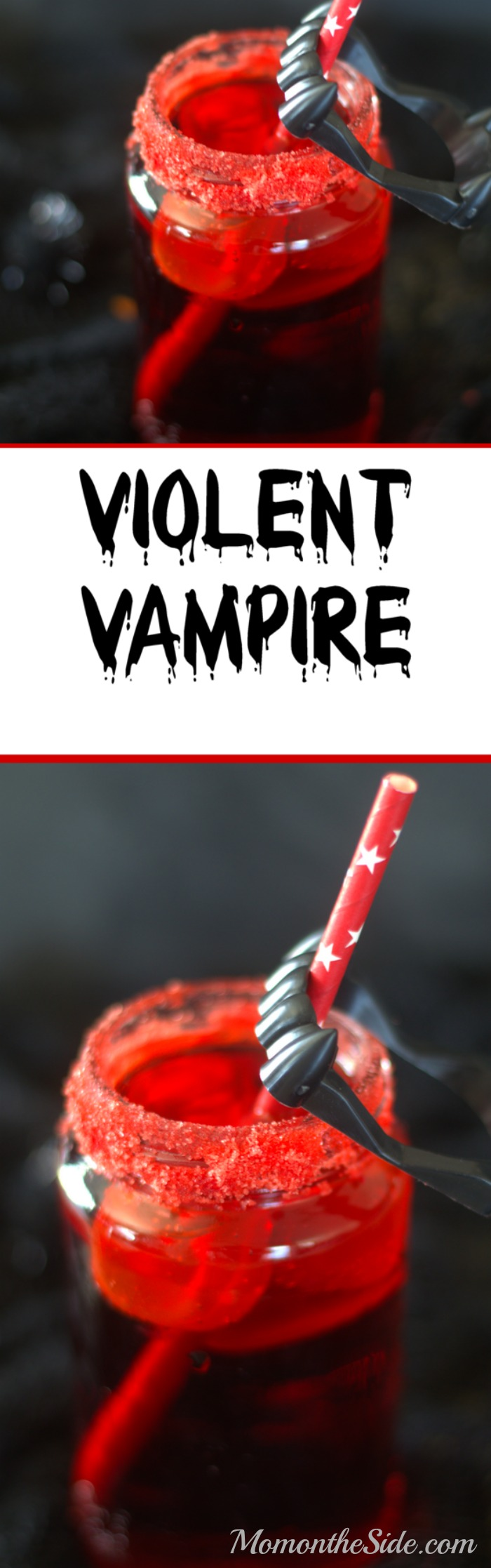 If you are looking for fun Halloween Kids Drinks, this Violent Vampire Drink for Halloween is one! Forget the witches brew and go for something topped off with fake fangs!