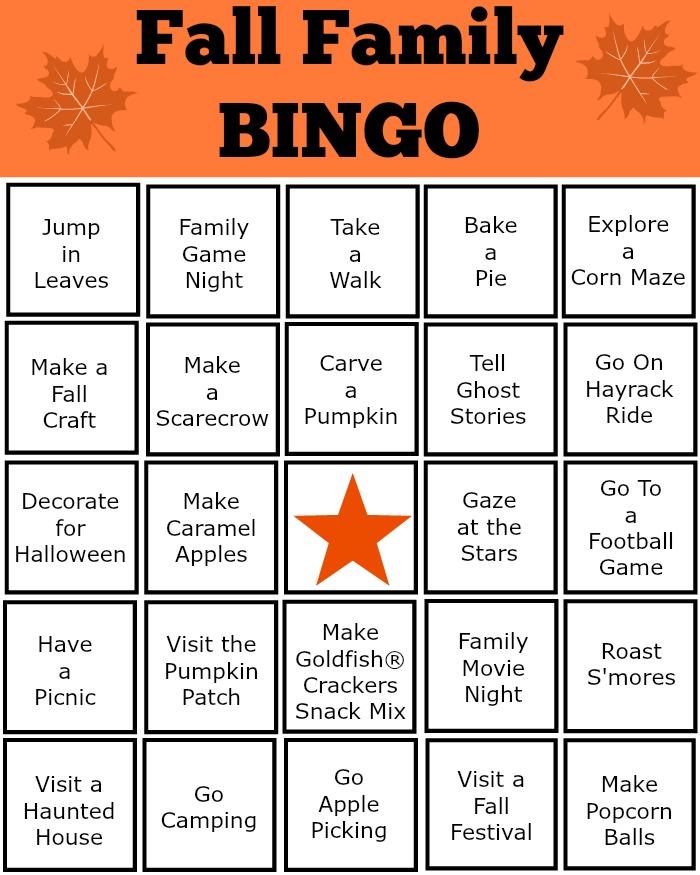 Printable Fall Family Bingo