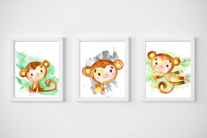 Set of Free Monkey Printables for Nursery Rooms that make adorable wall art for boy or girl nurseries, as well as a nursery for twins!