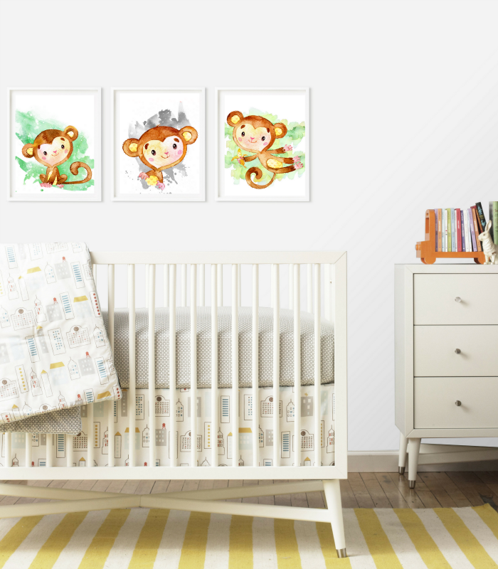 Set of Free Monkey Printables for Nursery Rooms