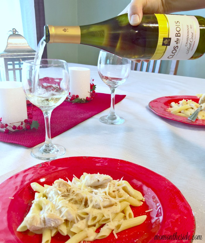 Delicious Pasta Night In with Parmesan Chicken Penne and Chardonnay