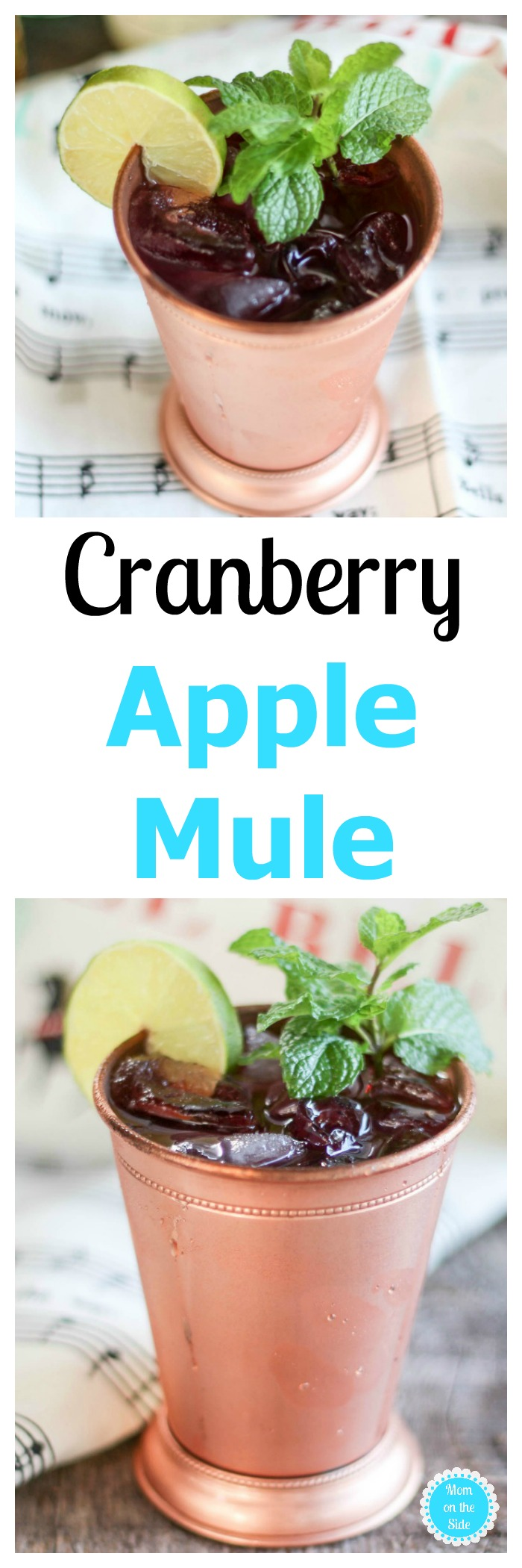 Moscow Mule with delicious fall twist! Cranberry Apple Mule is great for sipping on the porch swing & serving at holiday parties. Recipe on Mom on the Side