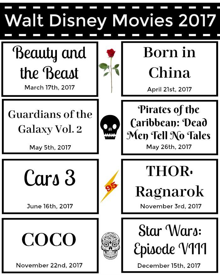 Printable Walt Disney Movie Slate 2017