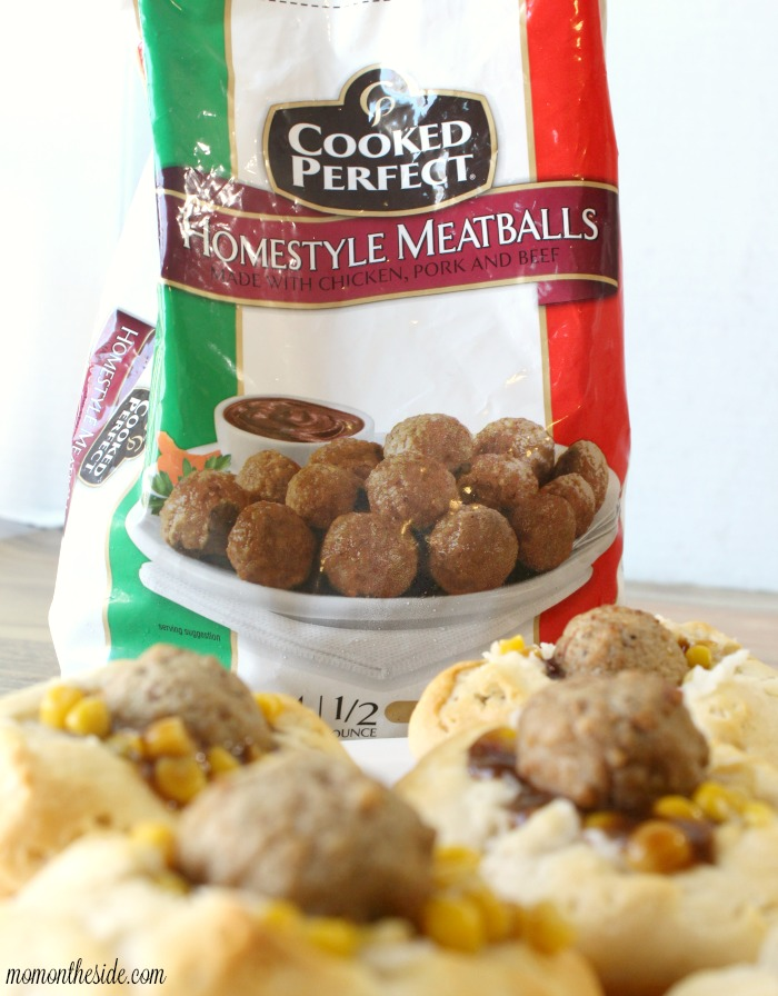 Meatball Mashed Potato Biscuit Bowls