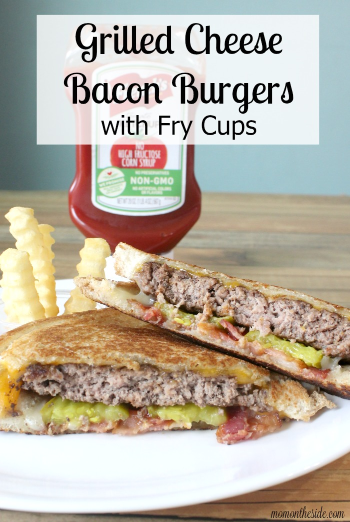 Grilled Cheese Bacon Burgers with Fry Cups