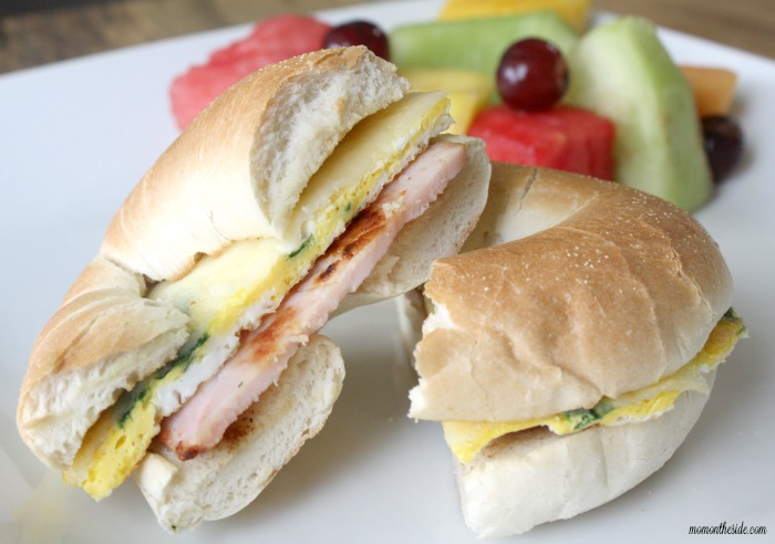 Canadian Bacon Fried Egg Bagel Sandwiches