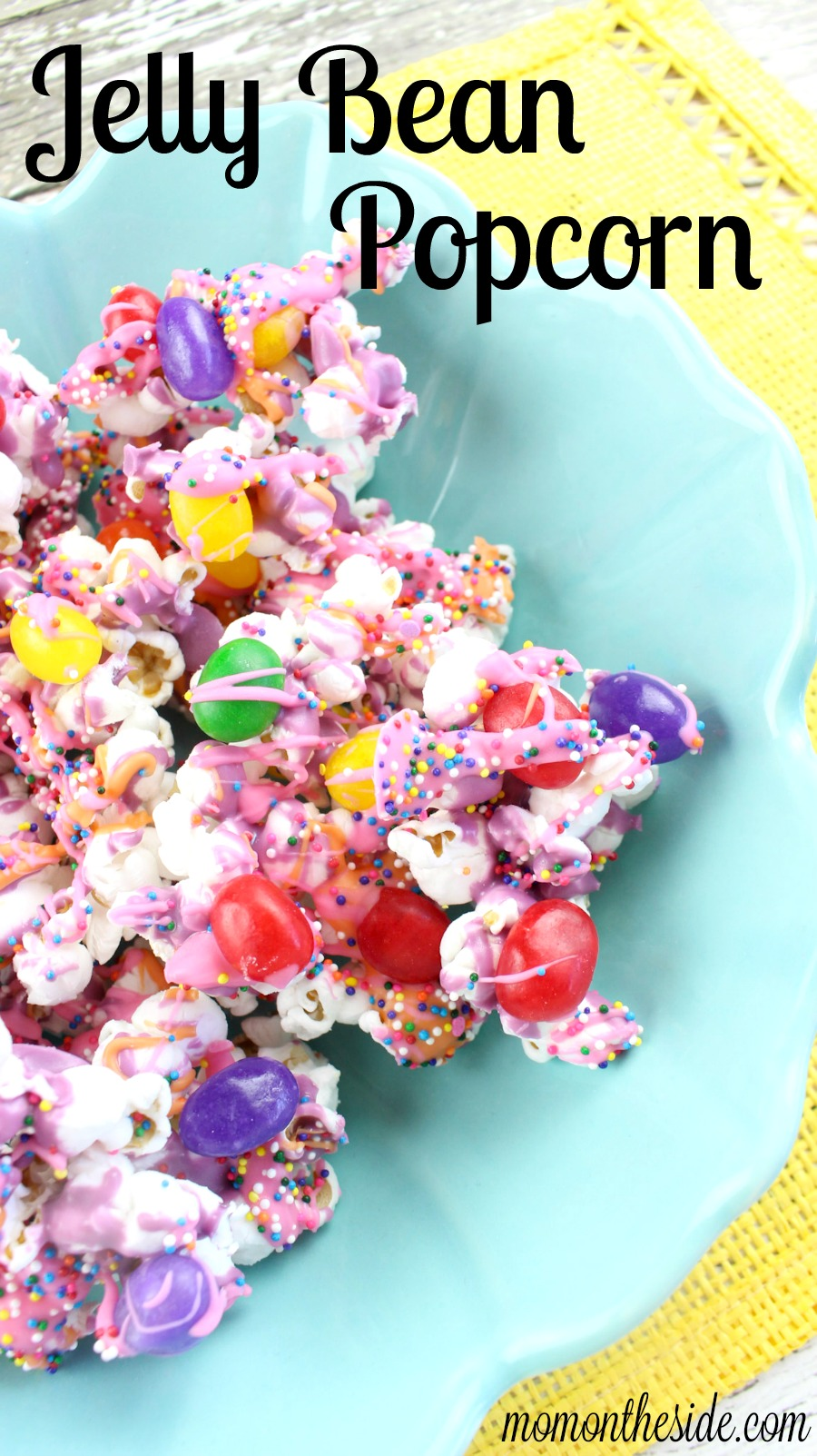 Easy, fun, and colorful dessert! This Jelly Bean Popcorn is the perfect spring treat for kids and adults at your Easter Party.
