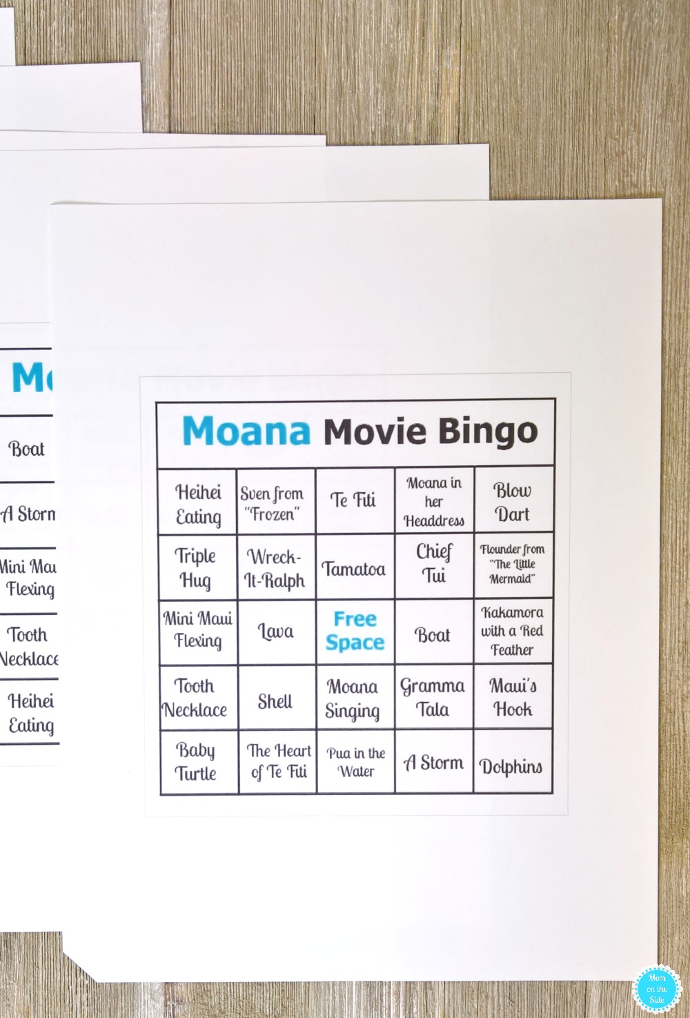 Printable Moana Bingo Cards