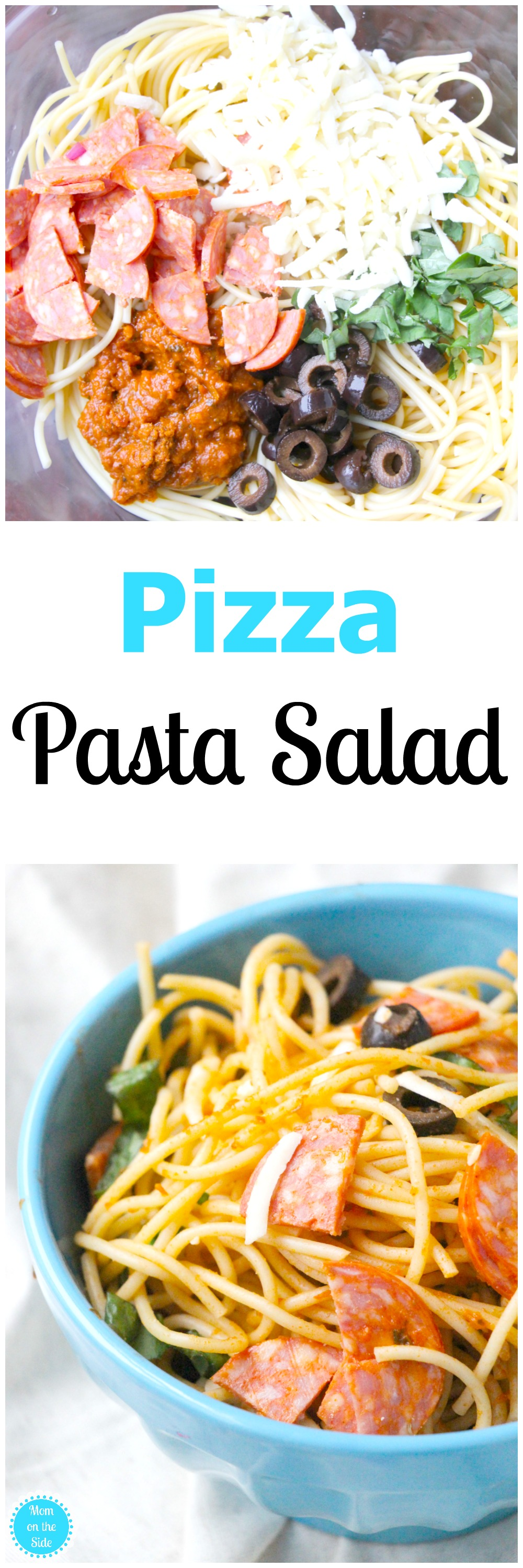 Serve this Pizza Pasta Salad cold or hot at your next picnic or bbq! Six simple ingredients for a deliciously easy pasta salad you'll want more of!