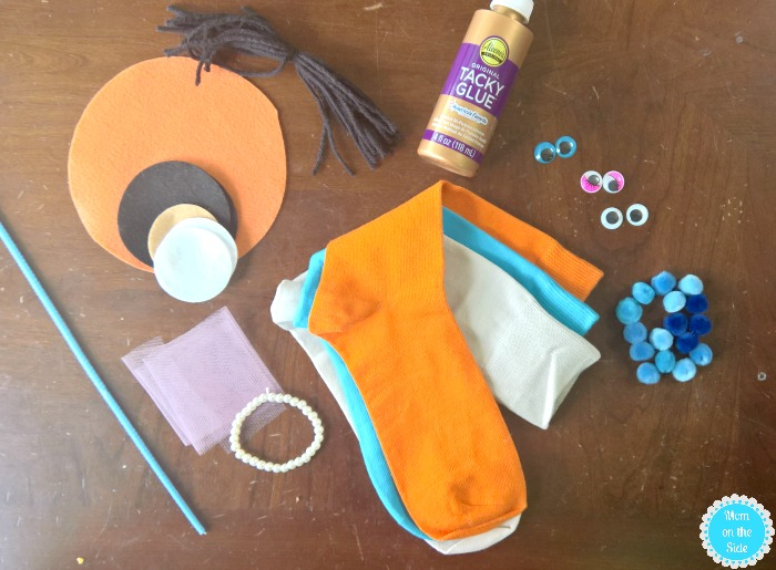 Supplies for DIY Sock Puppets and DIY Puppet Show Stage