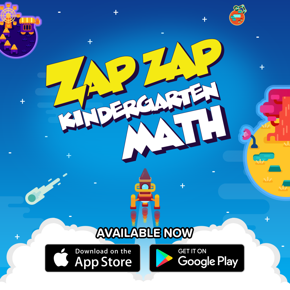 Zap Zap Kindergarten Math App on Apple and Google Play