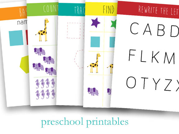 5 Page Printable Preschool Worksheets Packet