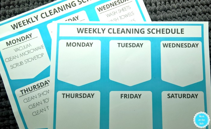 Printable Weekly Cleaning Schedule for Home