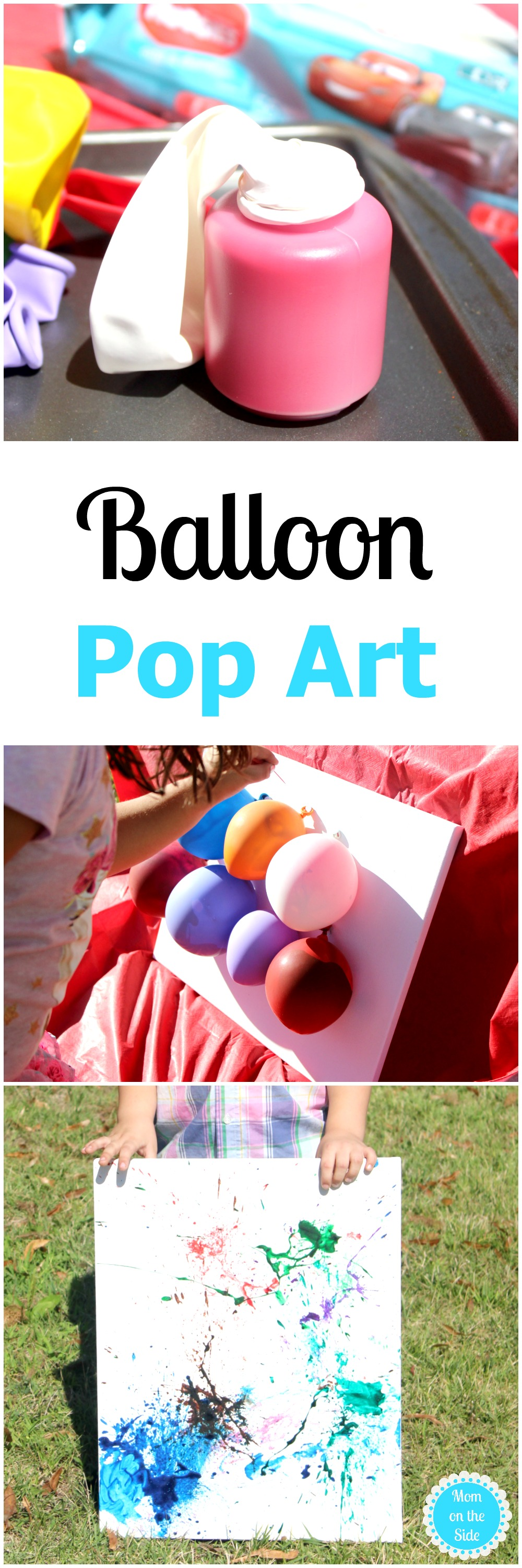 Balloon Pop Art is a fun craft for kids! This DIY art project makes for messy outdoor fun!