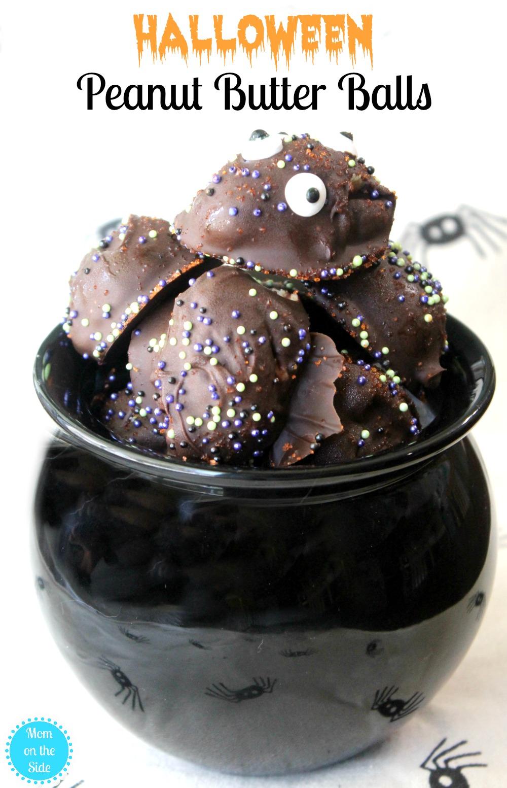 Recipe for Halloween Peanut Butter Balls - an easy Halloween Dessert!