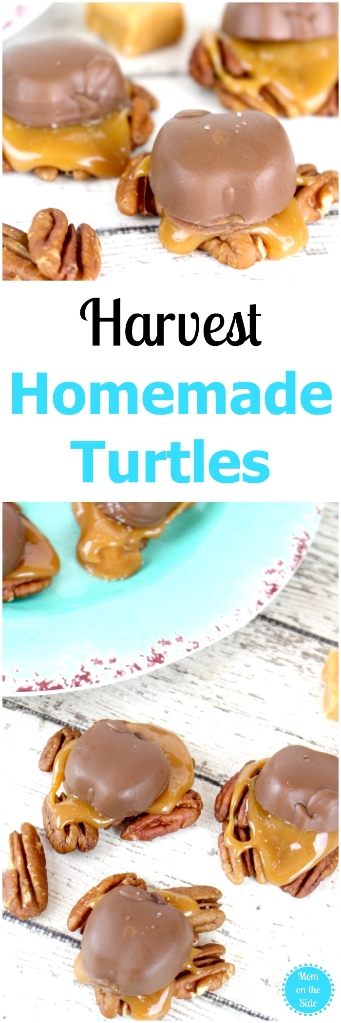A delicious fall dessert, these Harvest Homemade Turtles are easy and full of fall flavor!