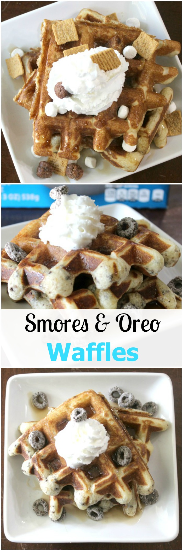 See how easy it is to make Smores Waffles and Oreo Waffles topped with whipped topping for a fun breakfast your kids (and husband) will love!