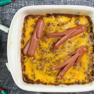 Easy Recipe for Chili Cheese Dog Casserole for Halloween