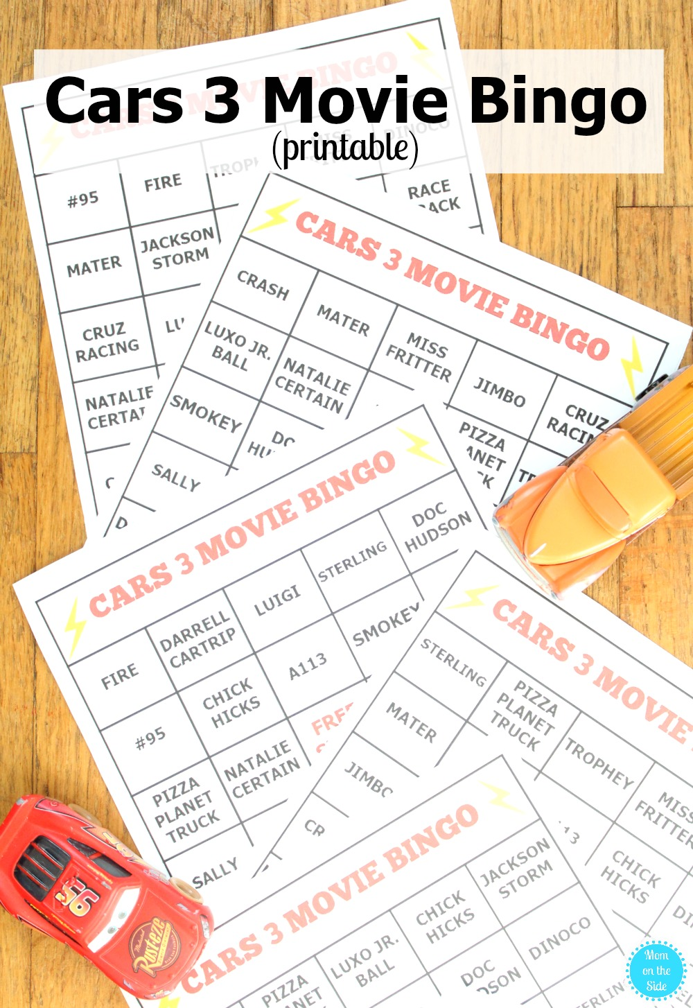 Printable Cars 3 Movie Bingo Cards for Family Movie Night