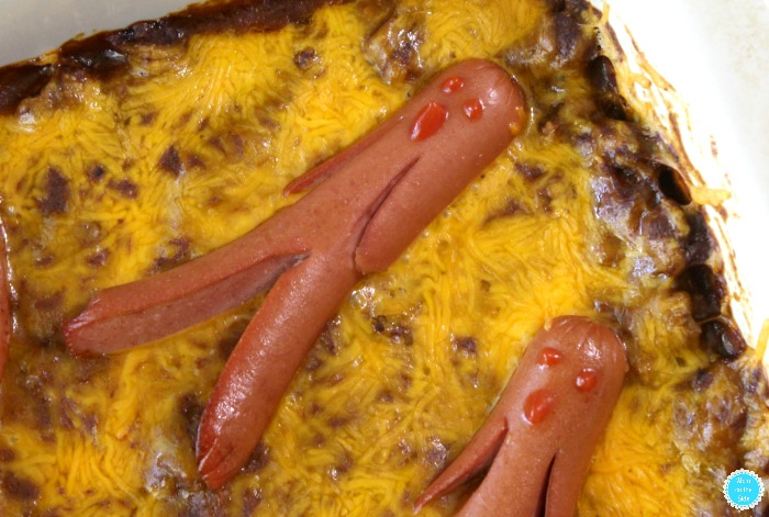 How to Make Chili Cheese Dog Casserole for Halloween