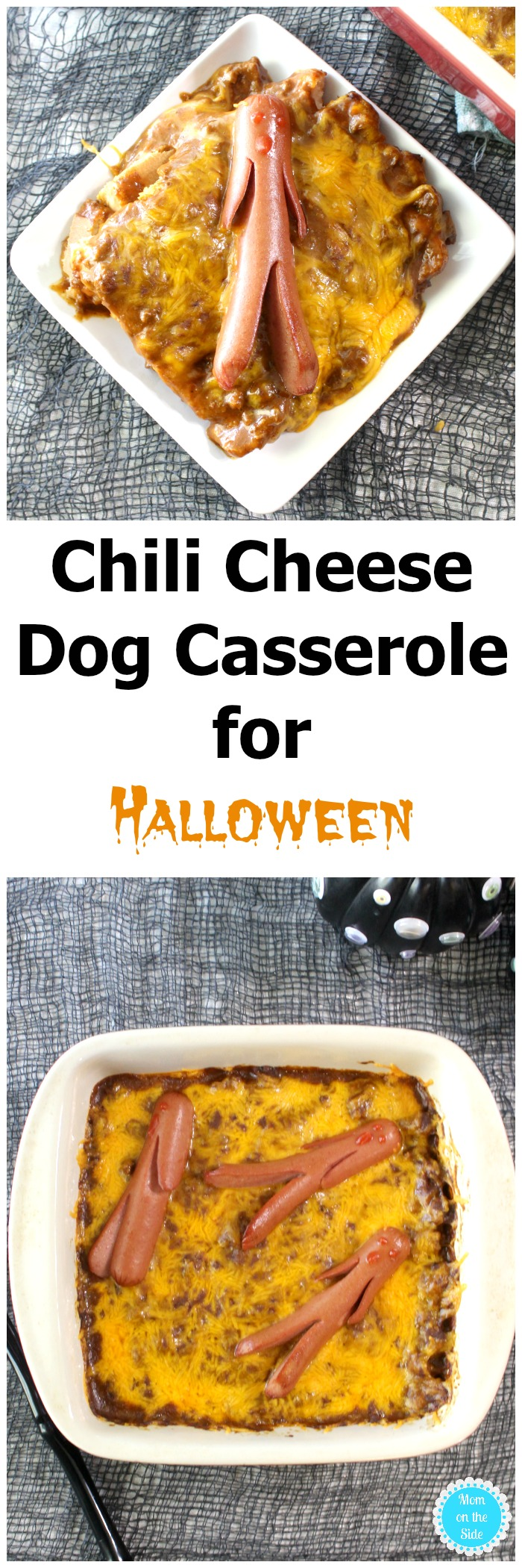 Want a fun and easy Halloween dinner for family? Whip up this easy recipe for Chili Cheese Dog Casserole!