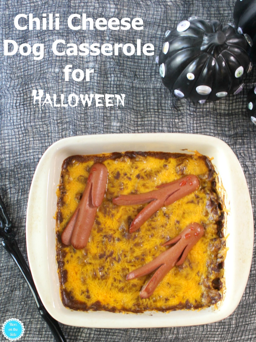 "Halloween Dinner: Chili Cheese Dog Casserole with ""Dead"" Hot Dogs"
