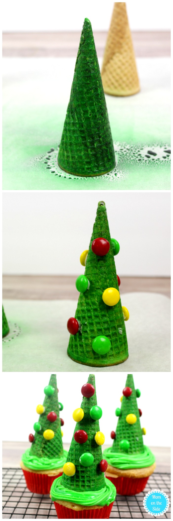 Making Christmas Tree Cupcakes for Kids