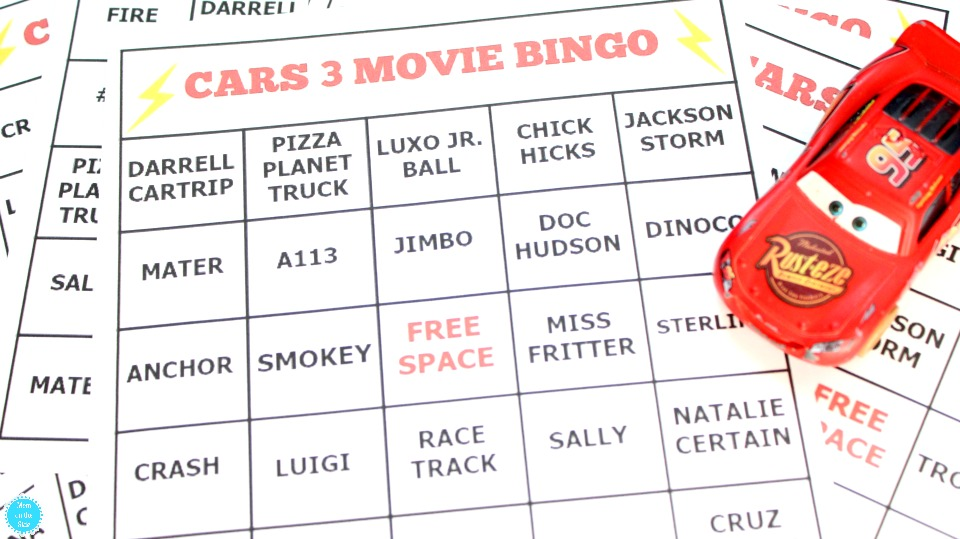 Free Printable Cars 3 Movie Bingo Cards for Kids