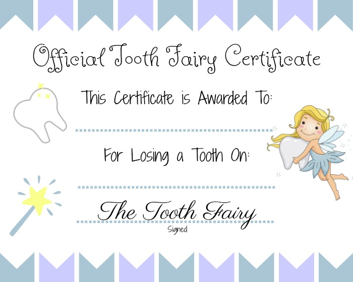 Free Tooth Fairy Certificate Printable