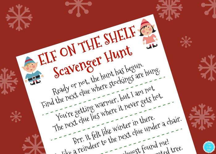 Printable Elf On The Shelf Scavenger Hunt Mom On The Side