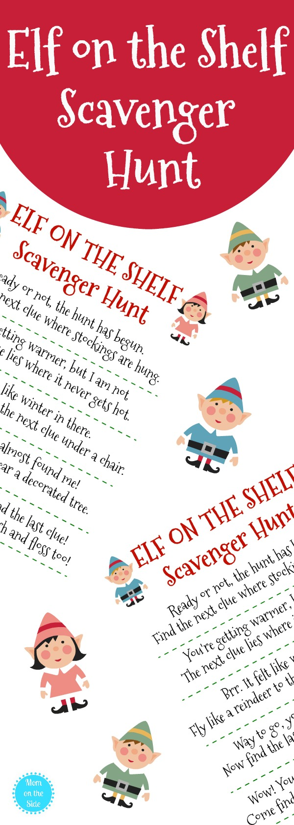 Need elf on the shelf ideas? Grab this free printable Elf on the Shelf Scavenger Hunt for Christmas the kids will love!
